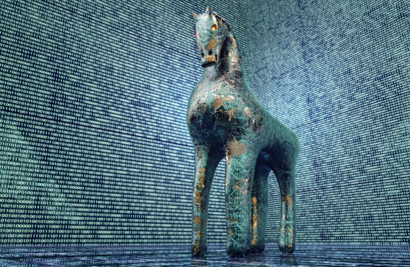 Illustration of a Trojan horse in an electronic environment.