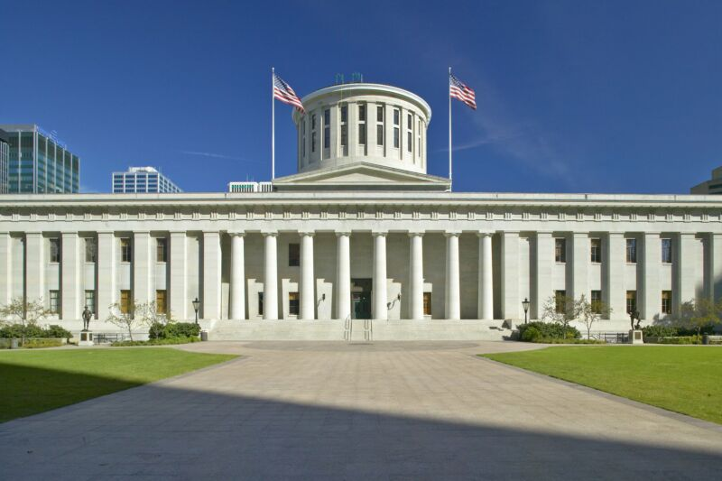 Ohio's state capitol building seen during daylight hours.