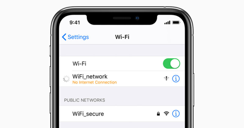 Close-up photo of Wi-Fi settings on a smartphone.