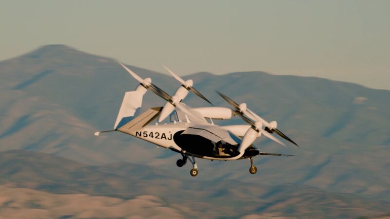 Joby Aviation's electric aircraft takes off for a test flight.
