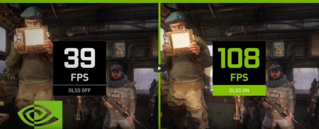 """Nvidia's own benchmarking shows well over double the frame rate in <em><a href=""""https://arstechnica.com/gaming/2019/02/metro-exodus-a-good-single-player-game-to-usher-in-the-pc-ray-tracing-era/"""">Metro Exodus</a>.</em> Most third-party benchmarks """"only"""" show an improvement of 50 to 75 percent. Note the DLSS image actually looks sharper and cleaner than the non-DLSS in this case!"""