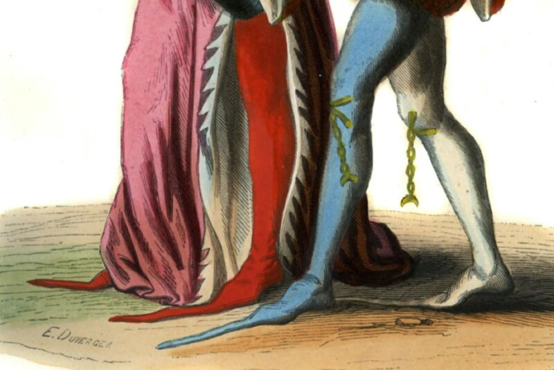 Detail showing fashionable pointed shoes of two English courtiers of Richard II, 14th century. One has two different colored shoes and chains hanging from his knees. Hand-painted copy of 14th-century art (c. 1847).
