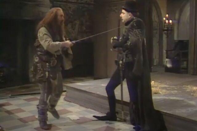 Rowan Atkinson's Edmund Blackadder routinely wore dramatically pointed shoes in <em>The Black Adder</em>, set in medieval England.
