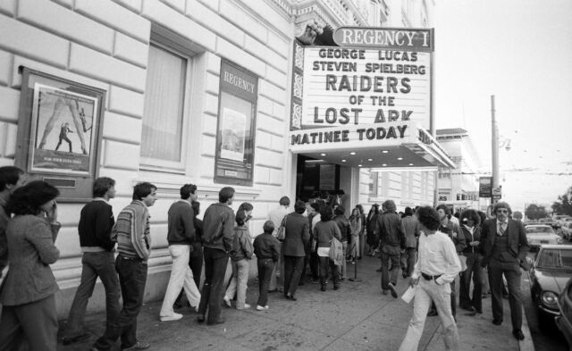 Crowds in line to see <em>Raiders of the Lost Ark</em>, June 25, 1981.