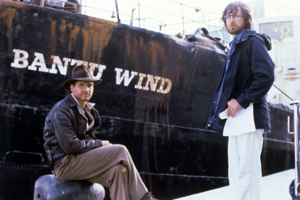 Harrison Ford and Steven Spielberg on the set of <em>Raiders of the Lost Ark.</em>