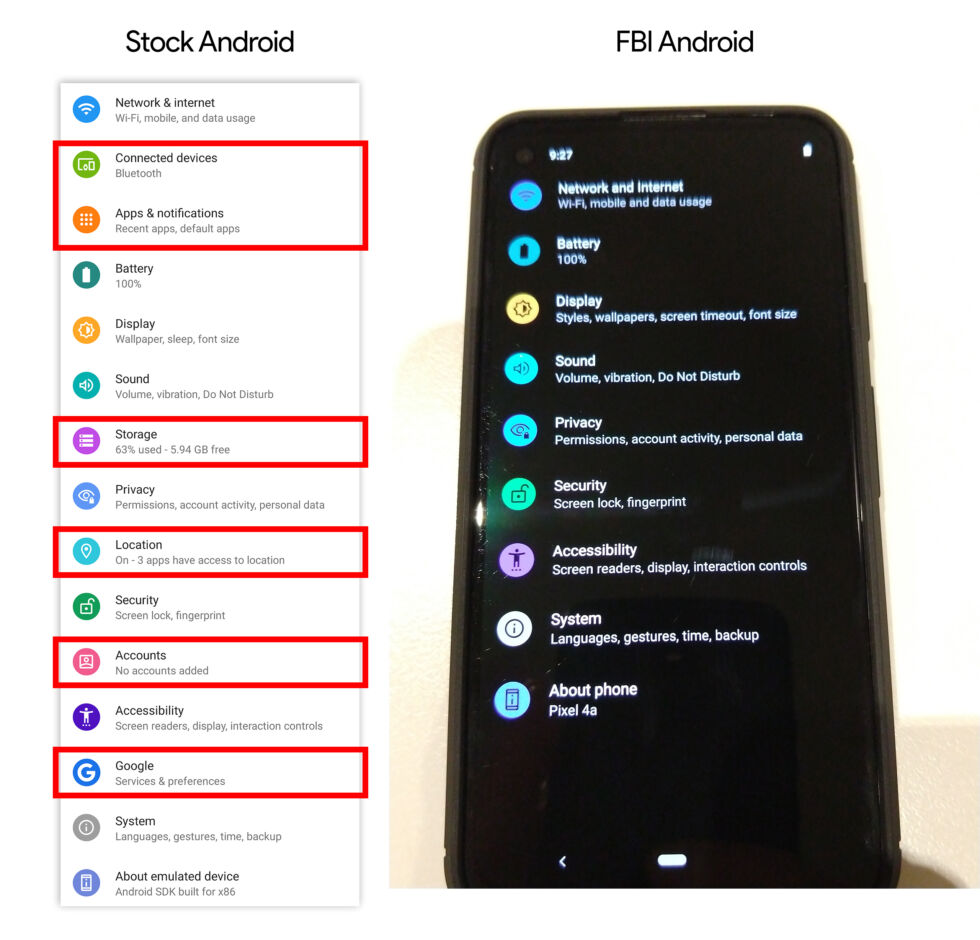 The FBI stripped out a lot of settings that would allow users to look into the phone guts or control things like location.
