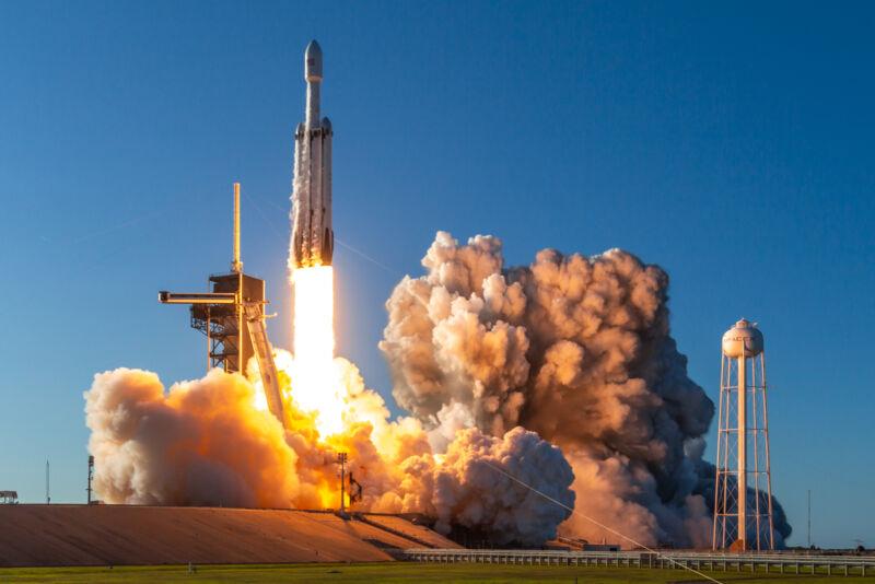 Photo of a Falcon Heavy rocket launch.