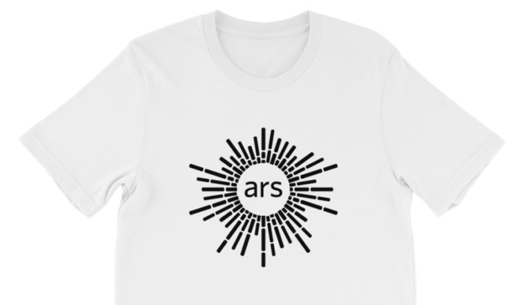 Image of a white, Ars Technica branded shirt.