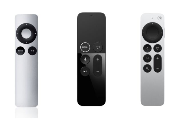 Apple's new Siri Remote takes design cues from both previous generations, creating an ideal balance of analog and high-tech feel. From left to right: Apple TV Remote, Siri Remote (first gen), Siri Remote (second gen).