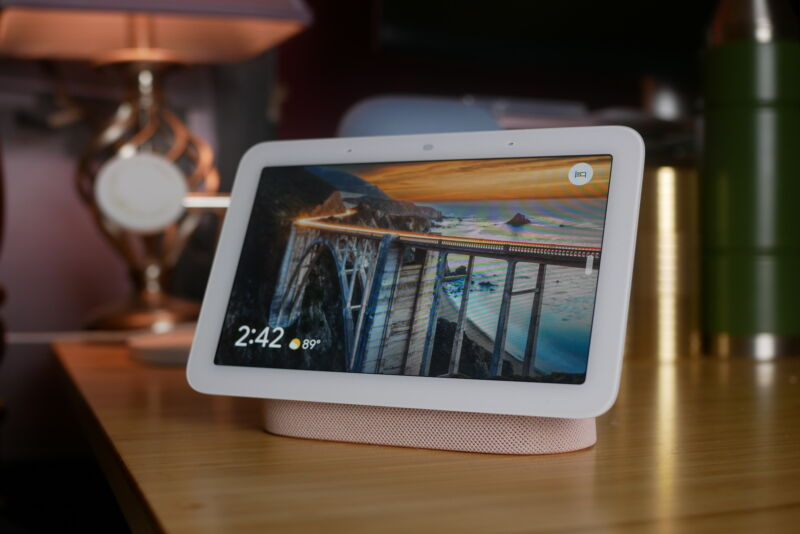 Google's second-generation Nest Hub in its ideal environment, bedside.