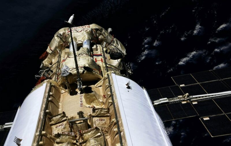 Russia's Nauka module is seen attached to the International Space Station.