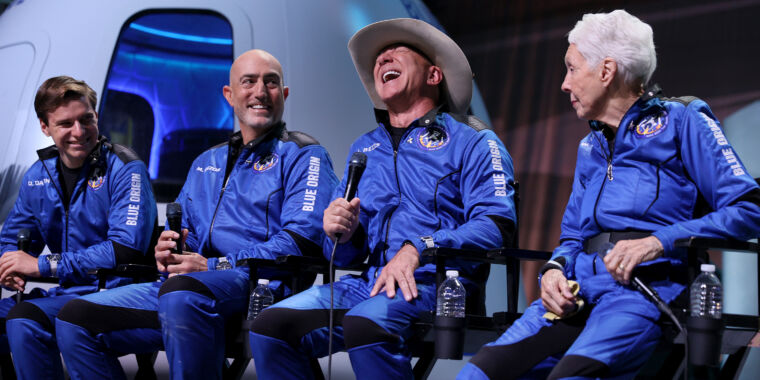LAUNCH SITE ONE, Texas—Jeff Bezos burst from his spacecraft with a smile on his face as wide as the brim of the cowboy hat atop his head. The founde