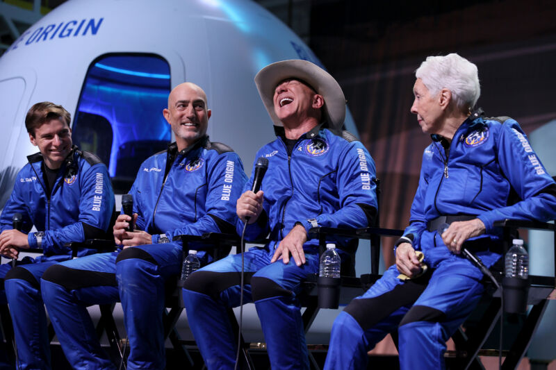 Blue Origin's New Shepard crew, Oliver Daemen, Mark Bezos, Jeff Bezos, and Wally Funk hold a press conference after flying into space in the Blue Origin New Shepard on July 20, 2021 in Van Horn, Texas.