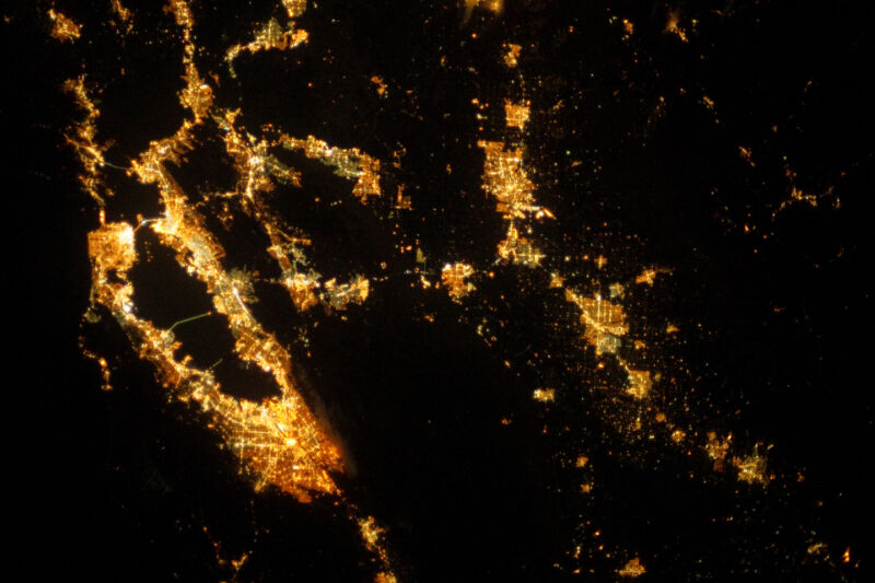 Technology Night time image of the San Francisco Bay from space, showing the extensive habitation around the bay.