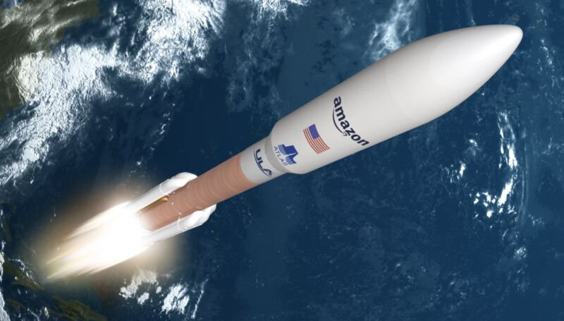Illustration of a rocket in space with an Amazon logo.