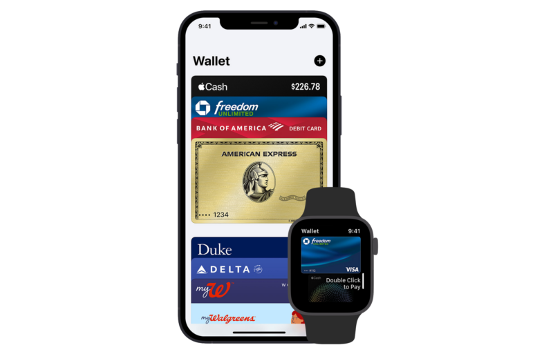 Apple Pay on an iPhone and Apple Watch.