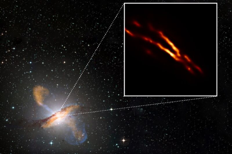 Highest-resolution image of Centaurus A obtained with the Event Horizon Telescope on top of a color composite image of the entire galaxy.