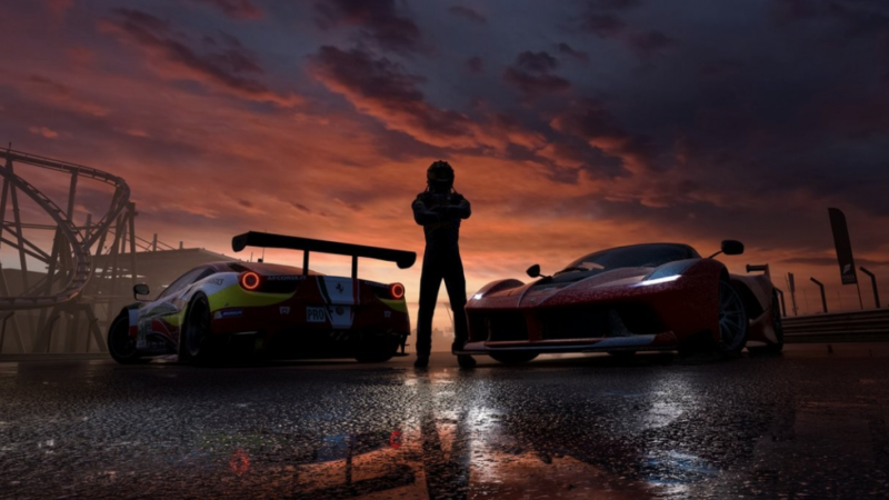 Promotional image for racing video game.