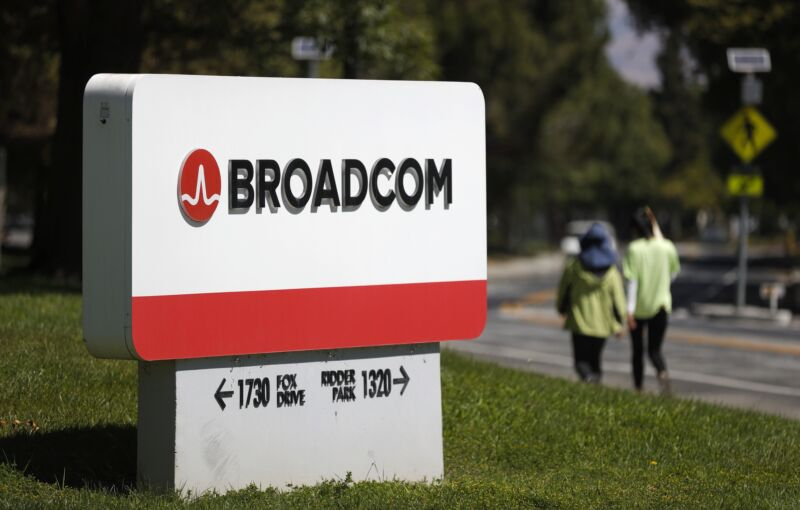 A Broadcom sign outside one of its offices.