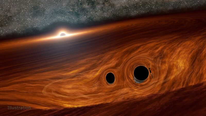 Image of black holes in a cloud of gas.