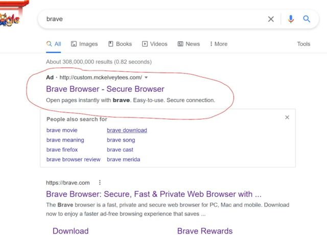 malicious google ad 02 With help from Google, impersonated Brave.com website pushes malware