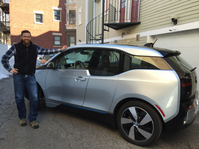 The author in 2015 with his new 2014 BMW i3.