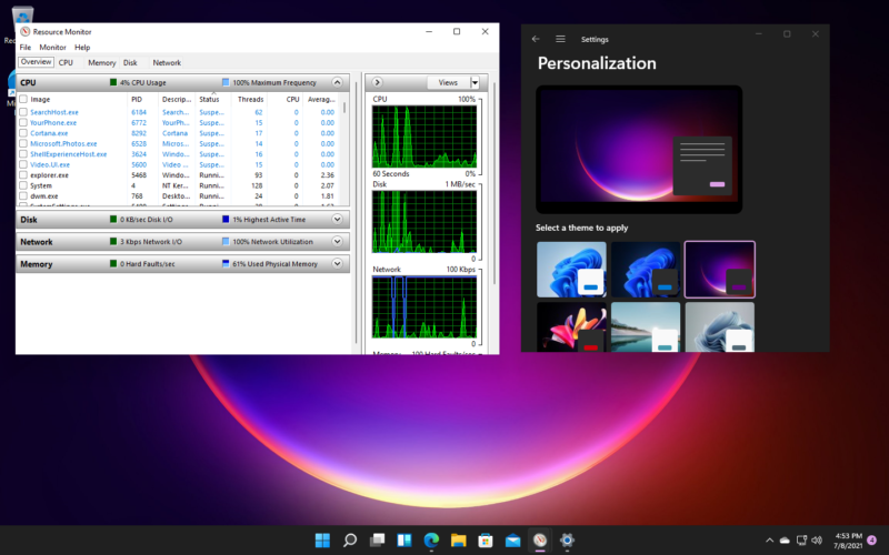 Setting Windows 11 to one of its dark themes also darkens the background of the Settings app—but not the background of most traditional apps, like Resource Monitor.