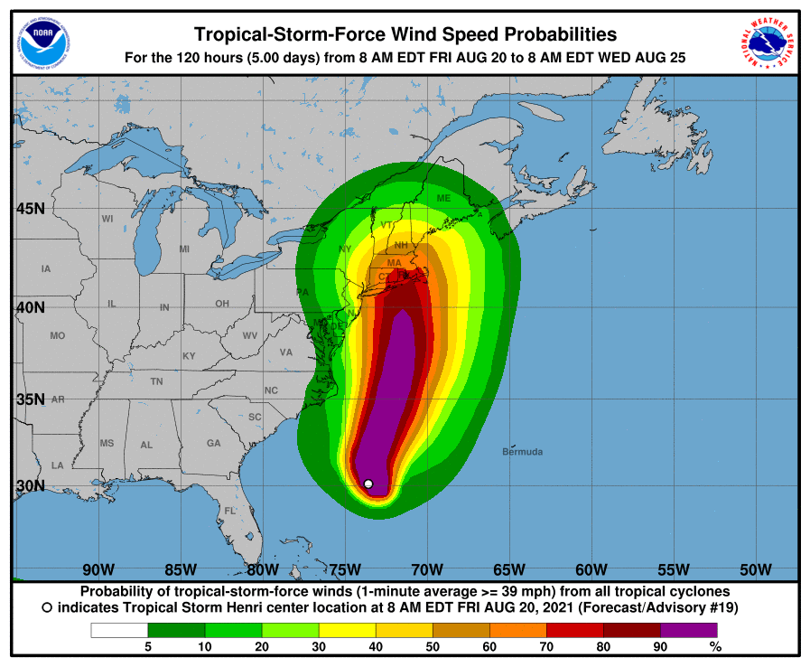 Probability of experiencing tropical-storm-force winds from Henri.