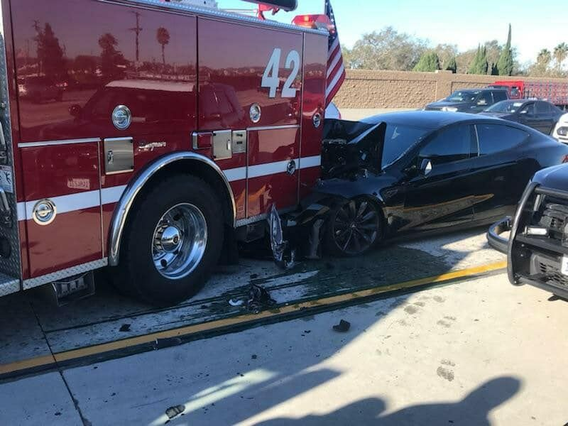 A 2014 Tesla Model S driving on Autopilot rear-ended a Culver City fire truck that was parked in the high-occupancy vehicle lane on Interstate 405.