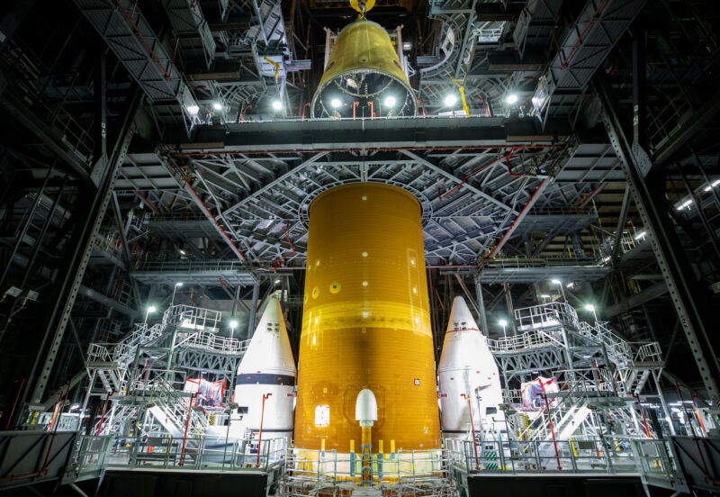 The launch vehicle stage adapter for NASA's Space Launch System rocket is integrated with the core stage in June.