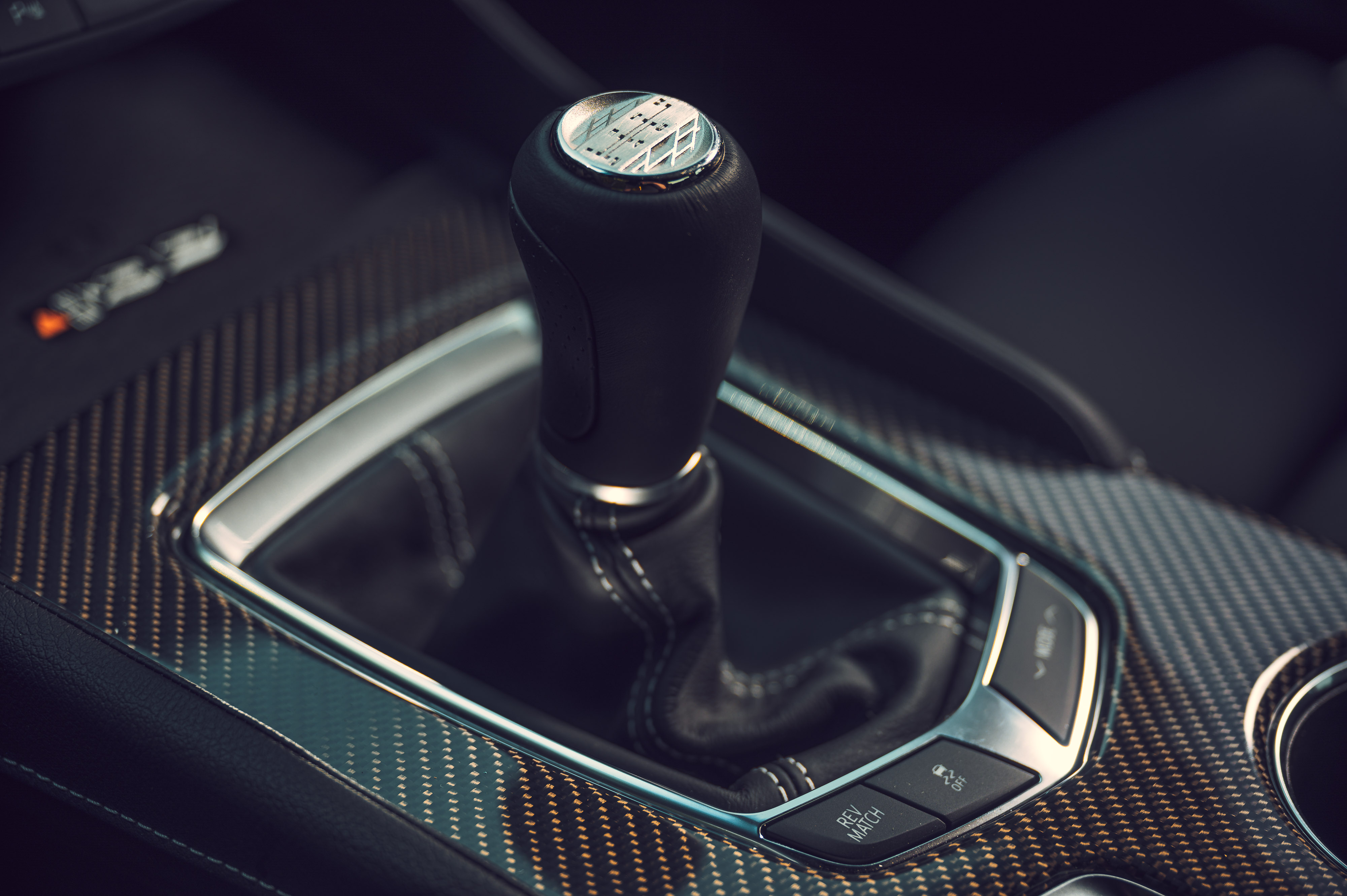 The six-speed transmission has a precise throw, and the clutch pedal is neither too light nor too heavy. The Rev Match button saves you from having to remember how to heel-and-toe.