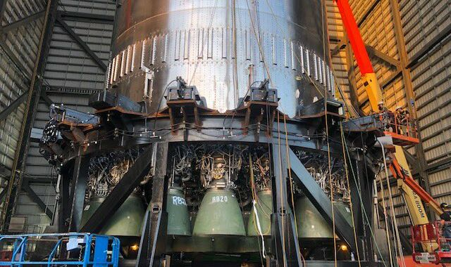 SpaceX installed 29 Raptor engines on a Super Heavy rocket last night