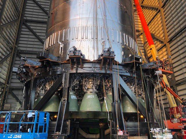 Image of 29 Raptor rocket engines installed on a Super Heavy booster.