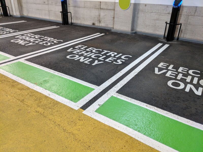Electric vehicle charging only spaces in a car park