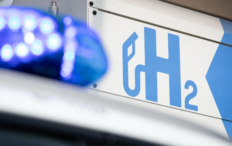 A Hyundai Nexo patrol car at a hydrogen filling station in Lower Saxony, Germany.