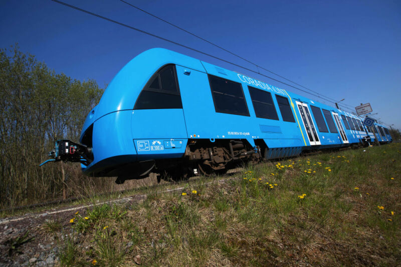 Image of a blue light rail vehicle.