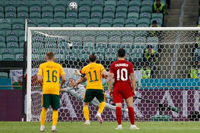Wales' forward Gareth Bale misses a penalty kick during the UEFA EURO 2020.