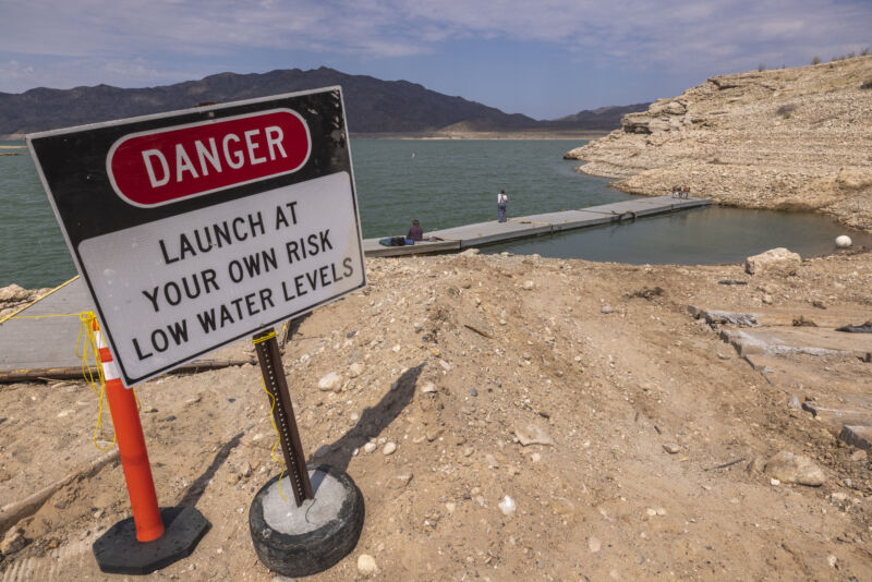 MEADVIEW, AZ - JUNE 29: A dock, which has become unusable as a worsening drought drops the water level of Lake Mead to new historic low records, is seen at South Cove near the upper reaches of the reservoir near Meadview, Arizona.