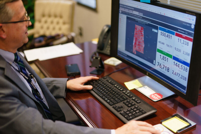 Scott Harris, Alabama's State Health Officer, discusses his state's vaccination data in his office on June 29, 2021, in Montgomery, Alabama.