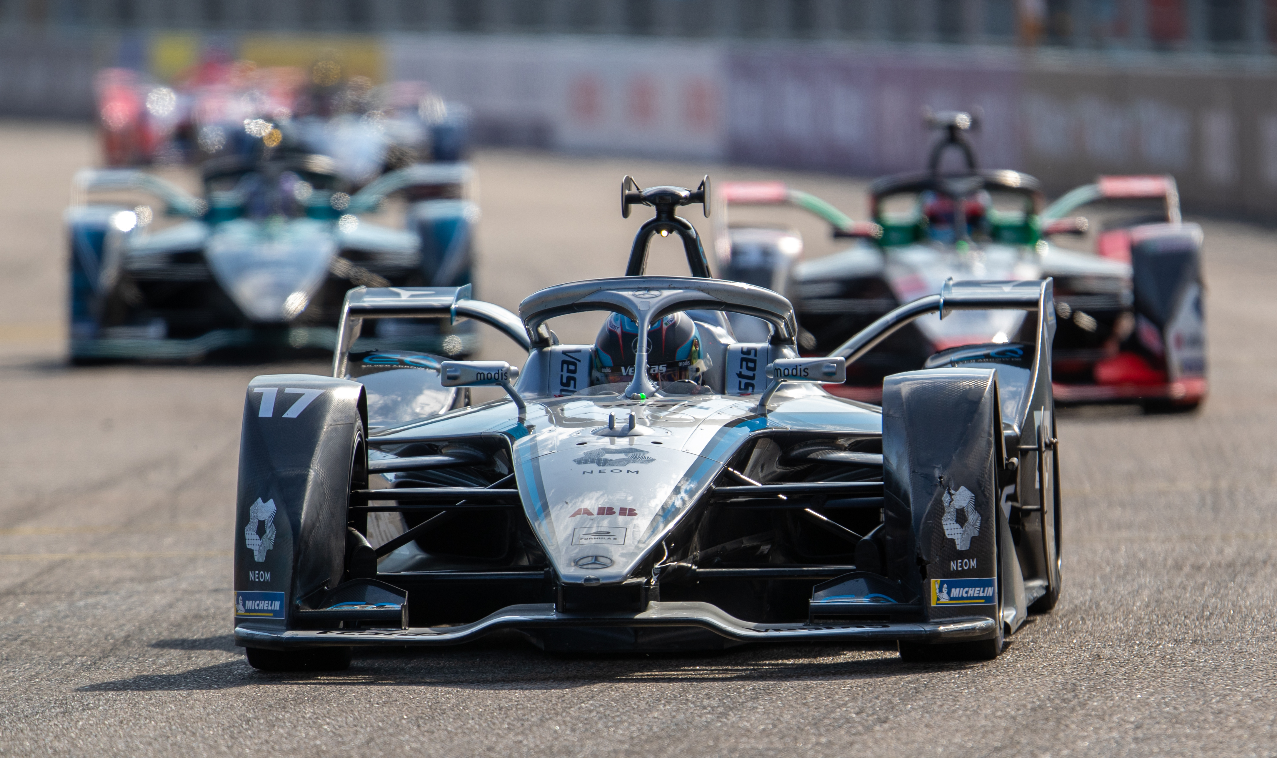 Nyck de Vries of the Mercedes-EQ Formula E team in action at the final race of the season in Berlin.