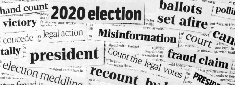 A collage of newspaper headlines describing election fraud.