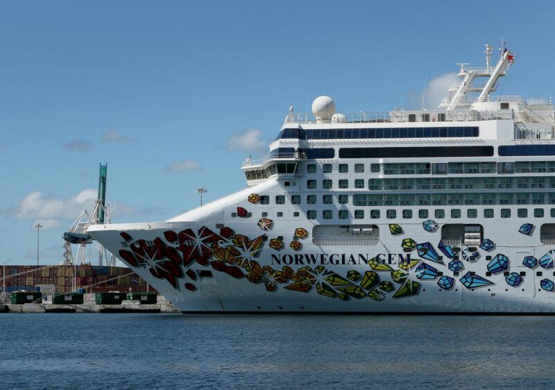 Photograph of a cruise ship.
