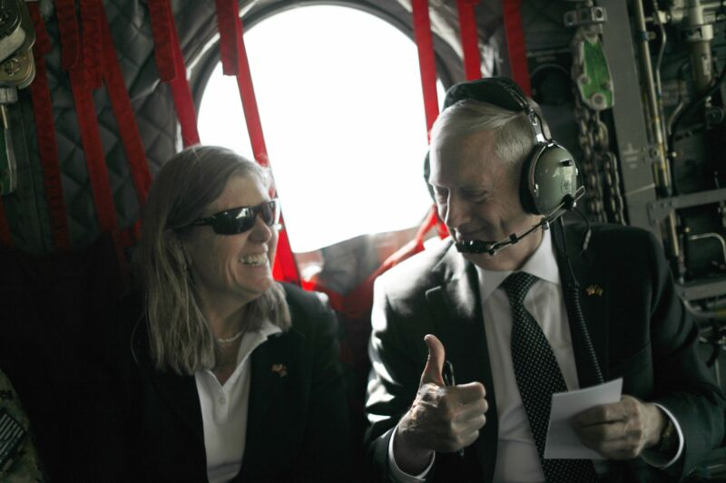 US Defense Secretary James Mattis gestures to senior advisor Sally Donnelly as they arrive by helicopter in the Afghan capital of Kabul on April 24, 2017.