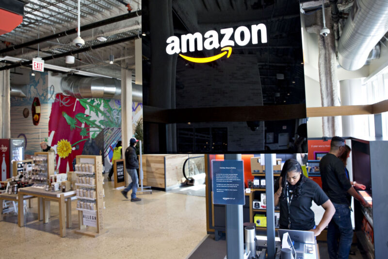 Amazon has experimented with physical retail for years, including this pop-up store inside a Whole Foods in Chicago, Illinois.