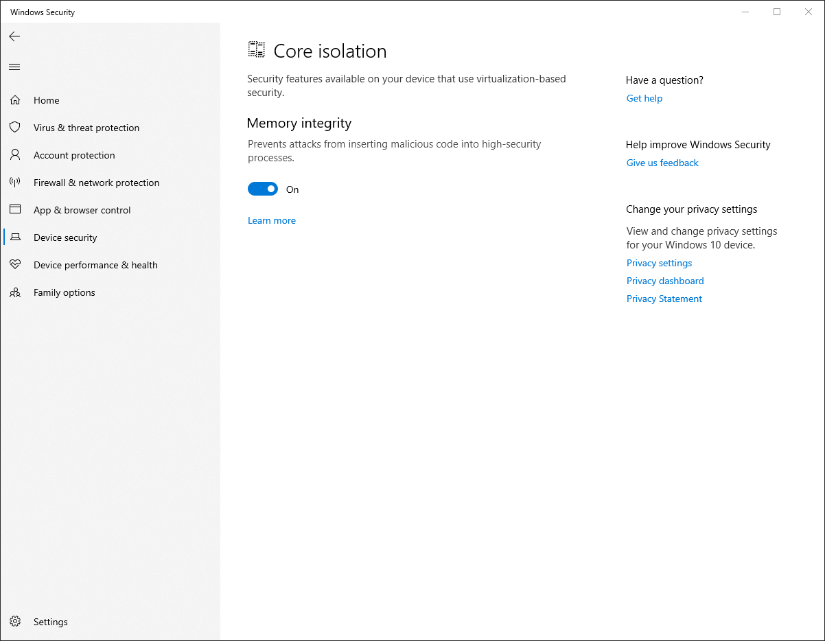 """""""Memory integrity,"""" also known as HVCI, is included in Windows 10 but is off by default on most systems. It's a key security requirement for Windows 11."""