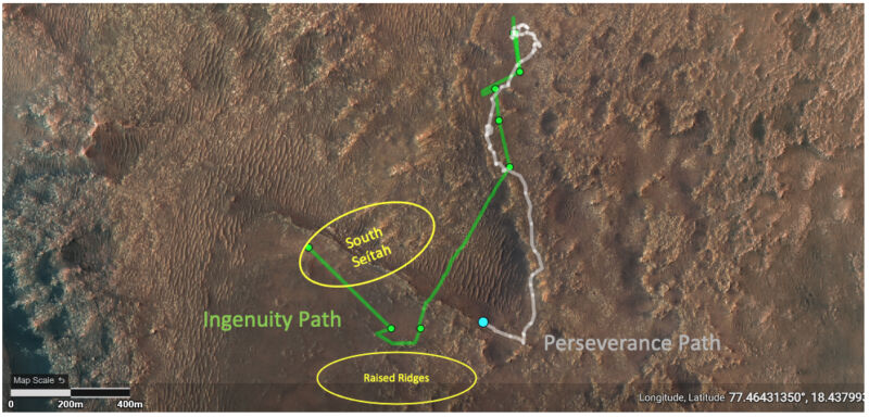 """This image depicts the ground tracks of NASA's Perseverance rover (white) and Ingenuity Mars Helicopter (green) since arriving on Mars on Feb. 18. The upper yellow ellipse depicts the """"South Séítah"""" region, which Ingenuity flew over during its 12th sortie."""