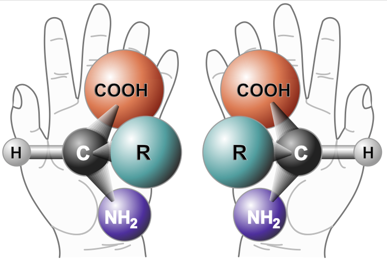 Illustration of chemical molecules superimposed over sketched hands.