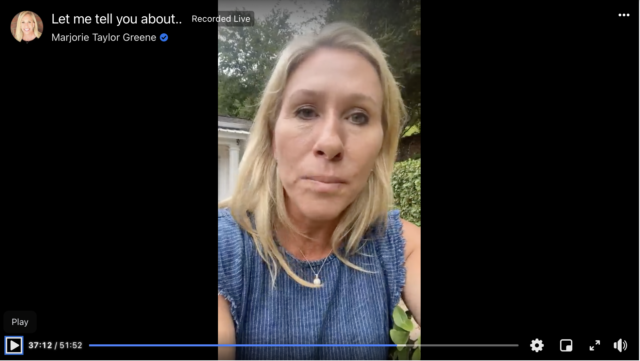 Rep. Marjorie Taylor Greene falsely claimed that masks were not effective at halting the spread of COVID-19 in an August 2 live video on Facebook.