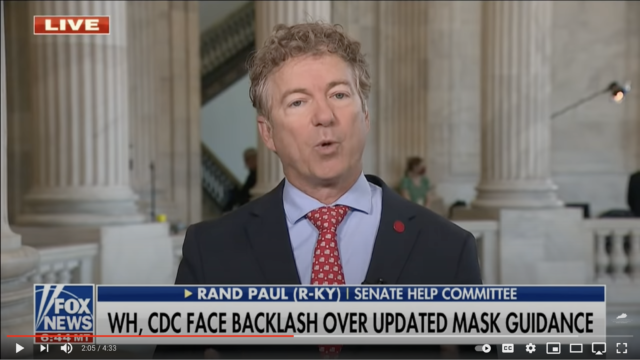 Sen. Rand Paul, in a Fox News segment he reposted on YouTube and Facebook, falsely claimed that masks are ineffective at slowing the spread of COVID-19.