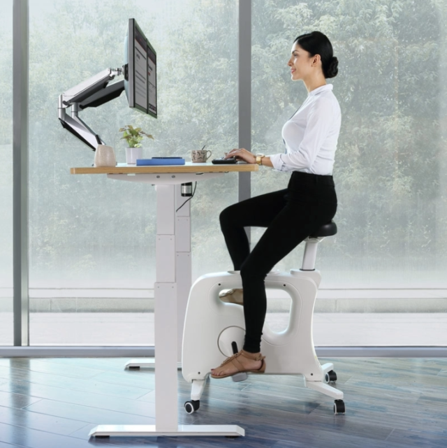 You can purchase the bike alone to use with an existing desk or order the full Desk Bike setup, which includes an attached tray with built-in wrist rests.